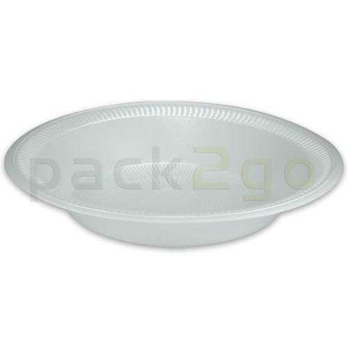 Suppenteller, hoher Antipastiteller, B3-Iso-Schale - 750ml, rund - geschäumte, weiße Einweg-Suppenterrinen