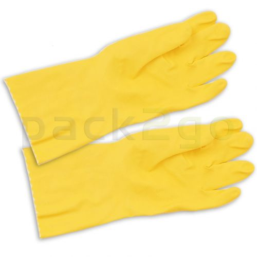 Rubberen handschoenen, geel, huishoudhandschoenen met katoenen voering, allergiearm, lang, middelgroot