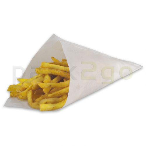Papieren puntzakken voor patat 17 cm 125 g, wit vetvrij papier