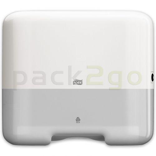 Tork-dispenser voor papieren zigzag en C-vouwhanddoeken H3 Mini Elevation voor 500 vellen, wit