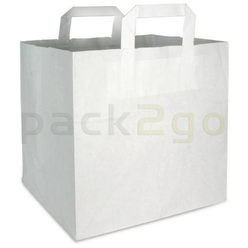 Papieren draagtassen 32 + 22 x 25 cm - kraft wit
