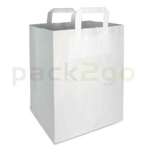 Papieren draagtassen 22 + 11 x 36 cm - kraft wit