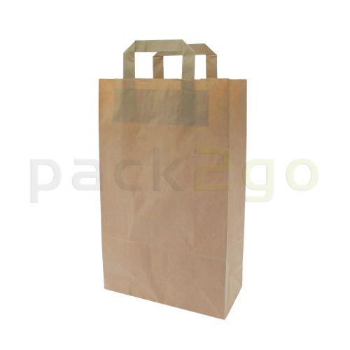 Papieren draagtassen 22 + 11 x 36 cm - kraft, bruin, milieuvriendelijk