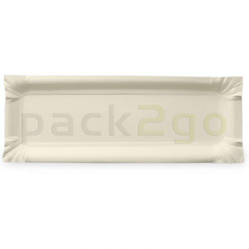 Kartonnen borden hoekig - 8x23cm TOPKRAFT, papiercoating, afscheurstrook om eten mee vast te nemen