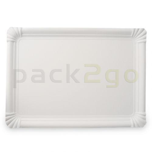 Pappteller eckig - 17x24cm TOPKRAFT, papierbeschichtet, Frischfaser