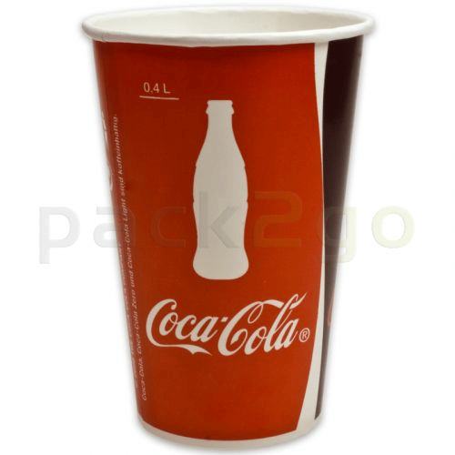 Kartonnen beker ''Coca Cola'' voor frisdranken - 0,3 l - Ø 80 mm