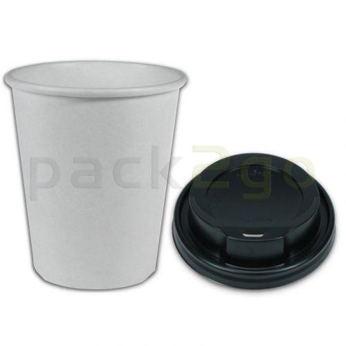 VOORDEELSET - Coffee-to-go-koffiebekers wit - 8oz, 200 ml, kartonnen bekers met zwarte deksel