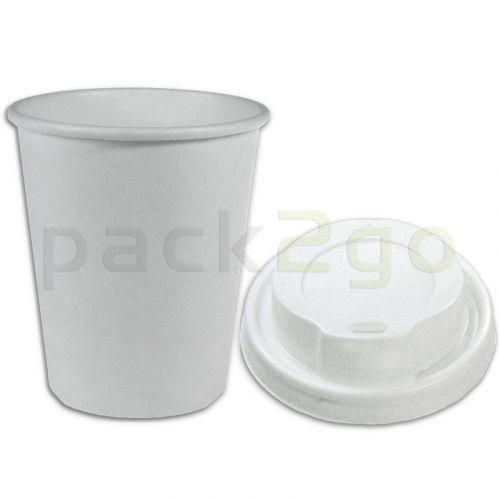 VOORDEELSET - Coffee-to-go-koffiebekers wit - 8oz, 200 ml, kartonnen bekers met een witte deksel