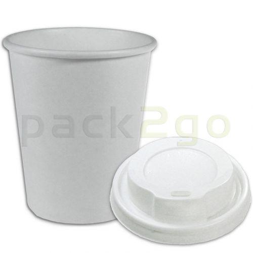 VOORDEELSET - Coffee-to-go-koffiebekers wit - 12oz, 300 ml, kartonnen bekers met een witte deksel