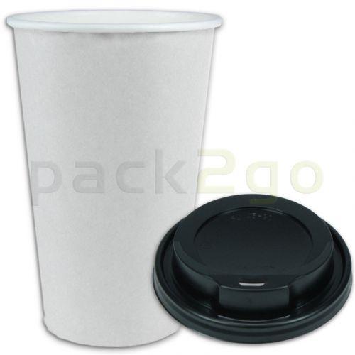 SPARSET - Coffee To Go Kaffeebecher weiß - 16oz, 400ml, Pappbecher mit schwarzem Deckel