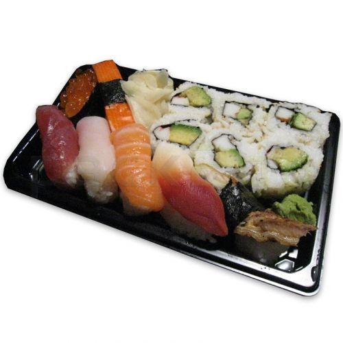 Sushi verpakking inclusief deksel, sushi-box to go-tray, zwart, klein