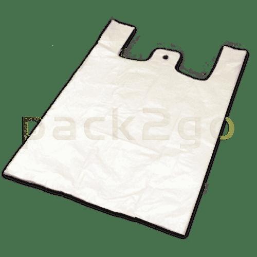 Hemdchen-Tragetaschen - Hochdruck-Polyethylen (MDPE), weiß, 28+14x48cm
