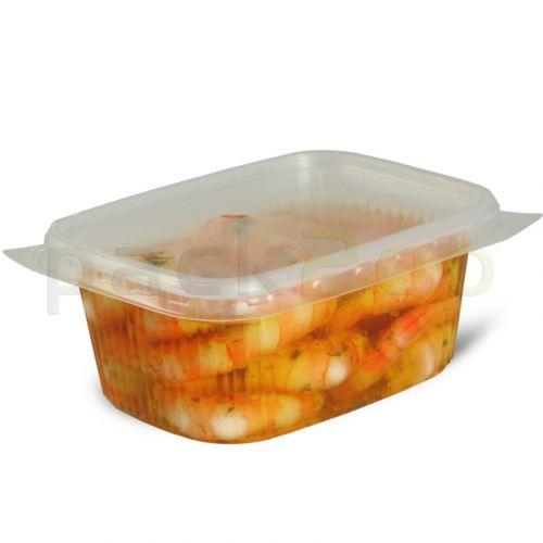 Feinkostbecher, Verpackungsbecher mit Deckel, klar, eckig (Kombipack) - 200ml