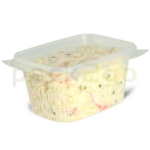 delicatessenbekers, verpakkingsbekers met deksel, doorzichtig, hoekig (combi-pak) - 250 ml