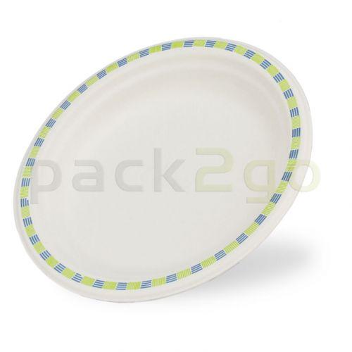 Chinet borden voor voorgerechten uit pershout, Ø 17 cm rond, wegwerp-partyborden met randdecor, composteerbaar