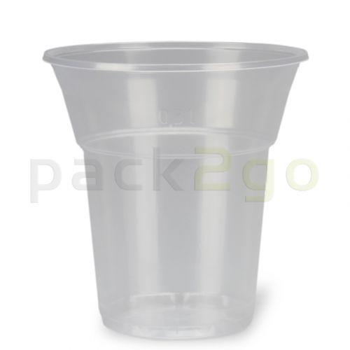 plastic bekers, transparant helder, PP, Wegwerp-bierbekers met schuimrand - 0,3 l