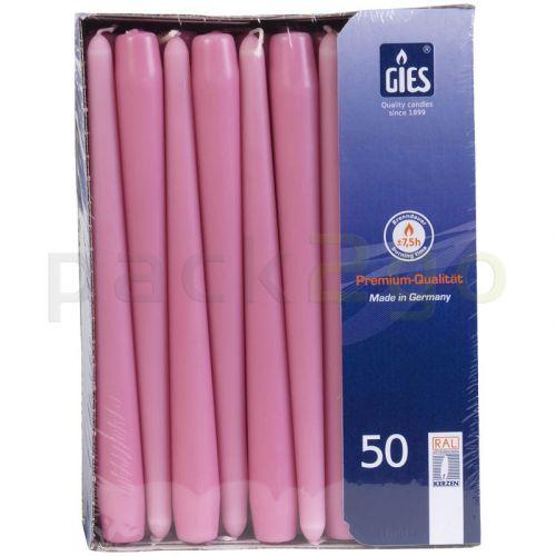 Dinerkaarsen (GIES) - rose, 250 / 22mm horeca 100 stuks