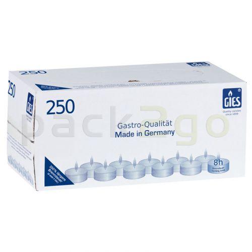 Teelichter, Gastro (GIES), 8h Stunden Brenndauer Ø38mm, weiß