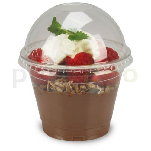 COMBI - Clear cups (smoothie bekers) - 9oz, 0,2 l plat - plastic bekers PET met bolle deksel