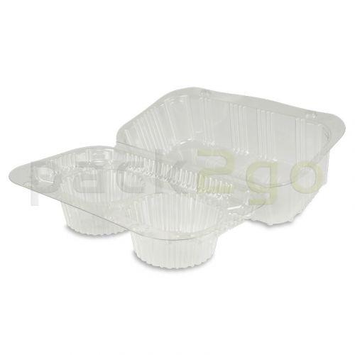 Klappbox für 2 Cupcakes / Muffins, PET, 191x115x95mm - glasklar