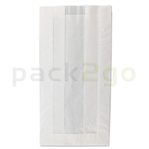 Sichtstreifenbeutel / Papierfaltenbeutel mit Sichtfenster 16+12x30cm, Kraft - weiß