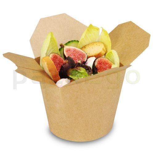 SmartServ-Box - runde Asia/Kebab Faltbox Pappe braun - 26oz/750ml
