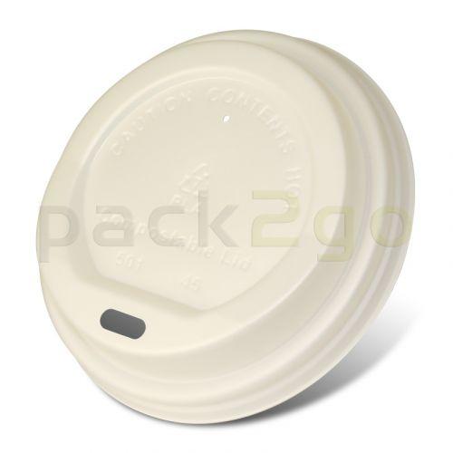 Kompostierbare Coffee To Go Deckel 12/16/20oz, für Kaffeebecher 0,3-0,5L, CPLA - weiß