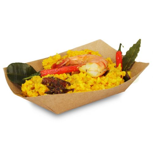 Foodtray aus Recycling-Papier (kompostierbar), braune Snackschale - 107x70x41mm