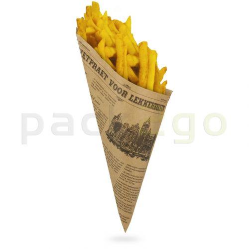 Papierspitztüten braun 2-lagig 19cm 125g Pommes - Zeitungsmotiv