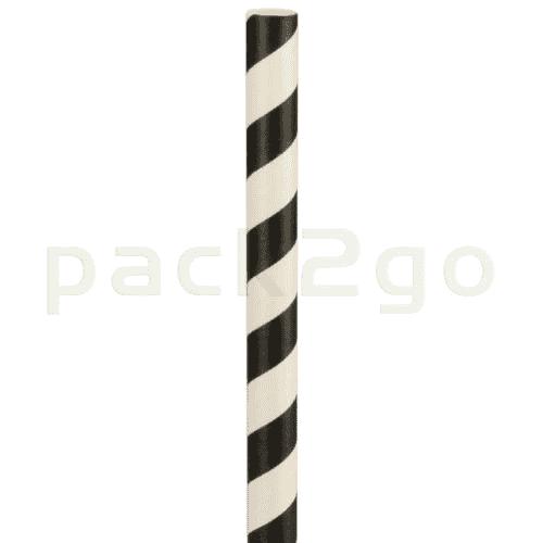 Kompostierbare Jumbo Bio-Trinkhalme, Strohhalm aus Papier, starr - 24cm, Ø8mm - schwarz/weiß