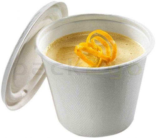 Soup To Go-Container aus kompostierbarem Zuckerrohr für Suppenbars - 425ml