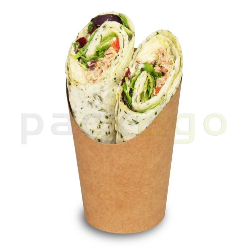 Kompostierbare Wrap-Cups aus braunem Hartpapier, PLA-beschichtet