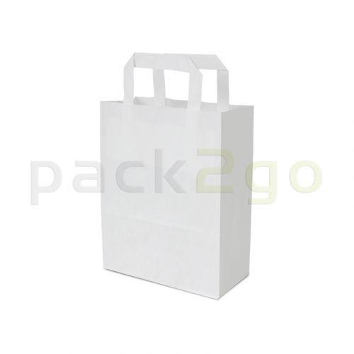 Papiertragetaschen 18+8x22cm - Kraft weiß, umweltfreundlich