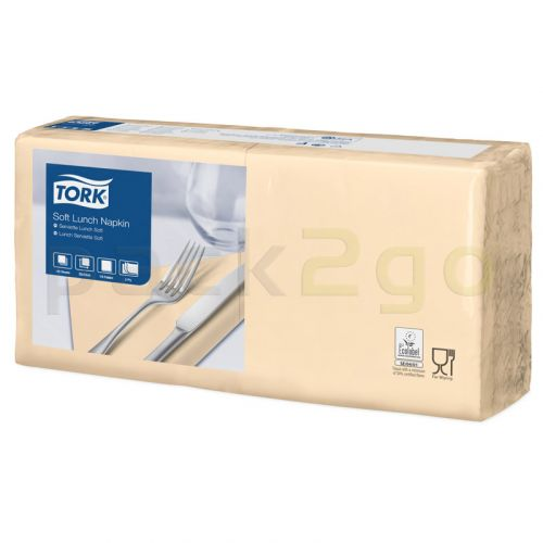 Tork Advanced tissue-servetten, 33x33cm 1/4, 3-laags, celstofservetten - ivoor / champagne