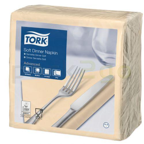 Tork Advanced Tissue-Servietten,40x40 1/4,3-lagig - ivory/champagner - Zellstoffservietten farbige (477583)