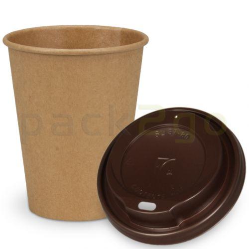 SPARSET - Coffee To Go Recycling Kaffeebecher - 12oz, 300ml, Kraftpapierbecher mit braunem Deckel
