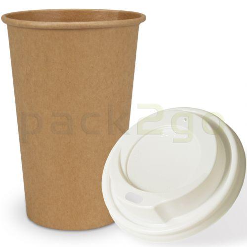 SPARSET - Coffee To Go Recycling Kaffeebecher - 16oz, 400ml, Kraftpapierbecher mit weißem Deckel