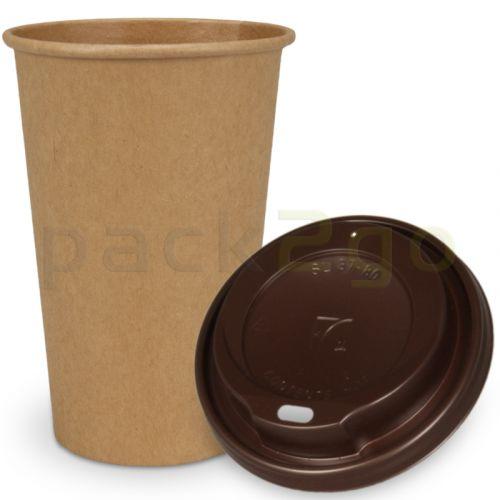 SPARSET - Coffee To Go Recycling Kaffeebecher - 16oz, 400ml, Kraftpapierbecher mit braunem Deckel