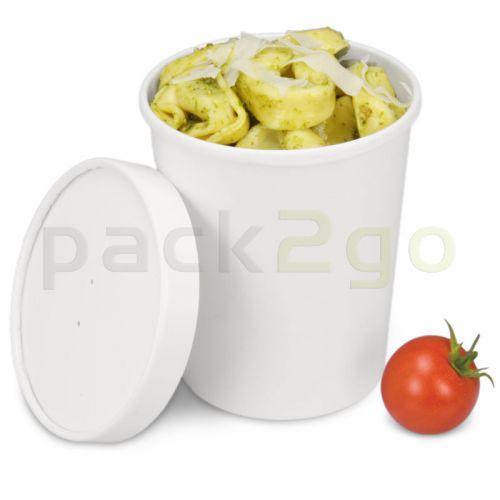 Soup-to-go-container, extra sterke kartonnen bekers met condensdeksel voor soepbars - 32oz/900 ml