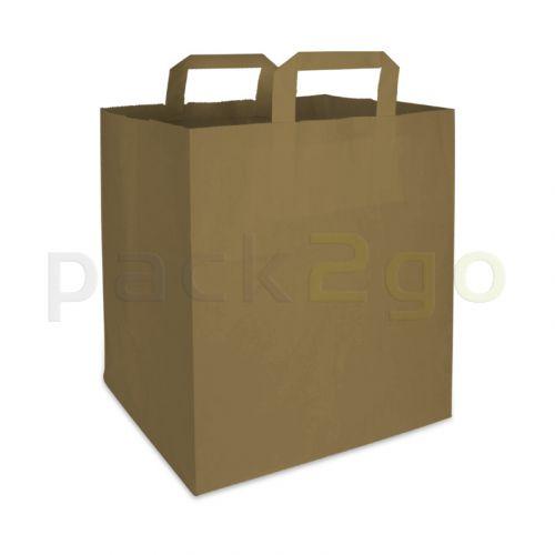Papieren draagtassen 26+17x25cm - kraft bruin, milieuvriendelijk