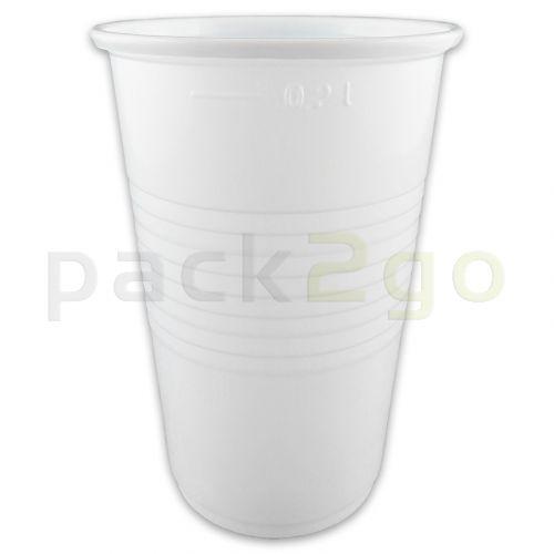 Plastikbecher, weiß, PP - Kunststoff-Trinkbecher (Kaltgetränkebecher) - 0,2l