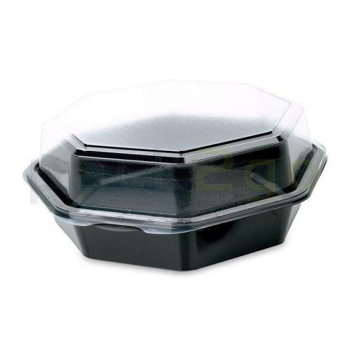 Octaview box, 8-hoekig Duni, saladebakjes zwart met doorzichtig deksel - 1300ml