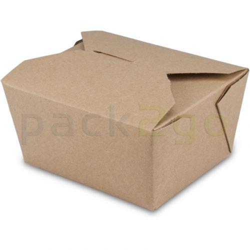 BioPak Foodcase - snackbox met vouwdeksel, gecoat, bruin - 750ml