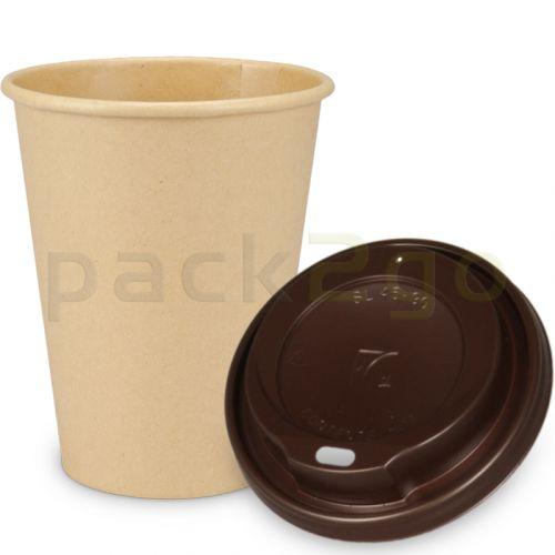 """SPARSET - Coffee To Go Kaffeebecher """"Natur"""" - 12oz, 300ml, Pappbecher mit braunem Deckel"""