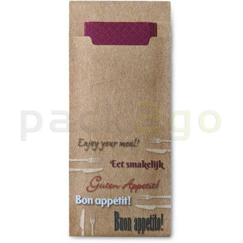 Serviettentaschen für Besteck mit Zellstoffserviette, Serviettenbeutel -