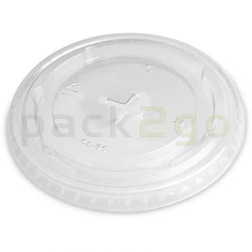 Deckel für Clear Cups (Smoothie Becher), flach, Kreuzschlitz für Strohhalm - 95mm