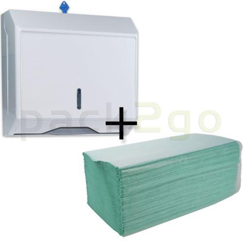 STARTERPAKET - Spender für Papierhandtücher Zickzack und C-Falz + Papierhandtücher, Zickzack, 1-lagig
