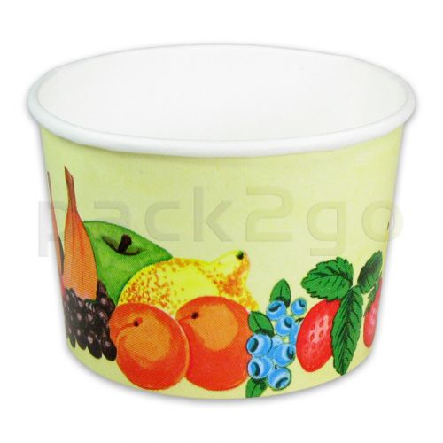 Eisbecher, Pappe - Hartpapier-Eisbecher bedruckt mit Früchte-Motiv - 340ml