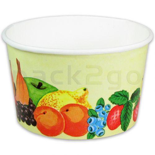 Eisbecher, Pappe - Hartpapier-Eisbecher bedruckt mit Früchte-Motiv - 580ml