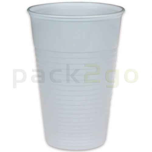 Plastic bekers, wit, PP-kunststofdrinkbekers (bekers voor koude dranken) - 0,3 l